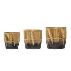 Round Bamboo Basket Natural with Grey Bottom Set of 3