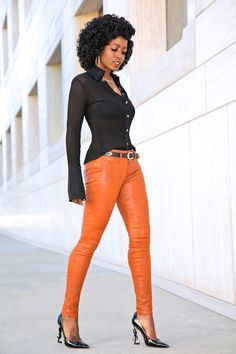 Pleated Button Down Shirt + Cognac Leather Pants
