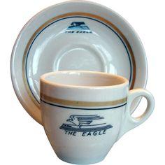 Tiny Missouri Pacific Railroad China Demitasse Cup & Saucer Set