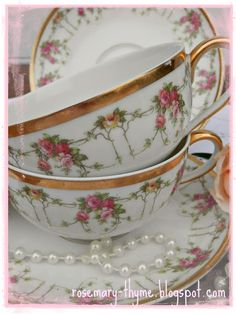 Rosemary and Thyme: Vintage Limoges Tea Cups & Butter Dish