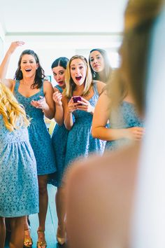 What a sweet moment!  The bridesmaids seeing the bride for the first time! #firstlook #wedding #bridesmaids #love #excitement #surprise http://www.mybigdaycompany.com/weddings.html