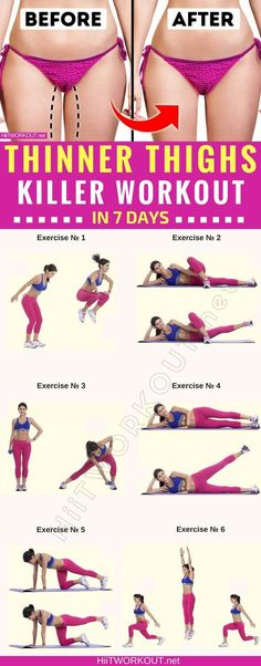 Wie Sie in nur 7 Tagen dünnere Oberschenkel bekommen Killer Routine) How to Get Thinner Thighs in Only 7 Days Killer Routine) – Fitness and Exercise Fitness Workouts, Fitness Diet, Yoga Fitness, Fitness Motivation, Health Fitness, Workout Routines, 7 Day Workout, Health Diet, Fitness Sport