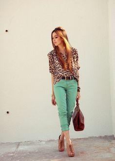 green pants + animal print