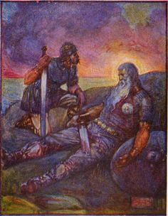This is a 1908 depiction of the scene where Wiglaf isspeaking to Beowulf after their battle with the dragon and Beowulf is mortally wounded. This is also when Beowulf passes on the thrown to Wiglaf.