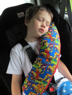 Seat Belt Pillow w Pocket - Made To Order - DESIGN Your OWN with LICENSED Fabric Prints. $29.00, via Etsy.