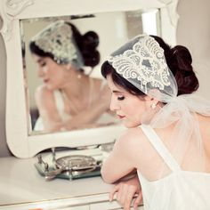 Ivory Beaded Art Deco Juliet Veil by ChantillyLaceDesigns on Etsy, $128.00