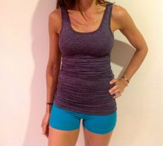 Hard Tail's performance jersey rocks and now we've added new styles, YAY!  Pictured on the lower model this easy to wear tank is styling with ruching under the sleeves and a shelf bra for support.  It's soft and comfy, feeling like a seond skin while sweat wicking ready for any of your workouts, runs, or yoga.