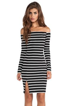 Black White Striped Off The Shoulder Split Dress pictures