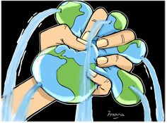 Babylon System, Save Water Poster Drawing, Earth Drawings, Save Planet Earth, Disney Paintings, Love The Earth, Water Art, Sustainable Energy, We Are The World