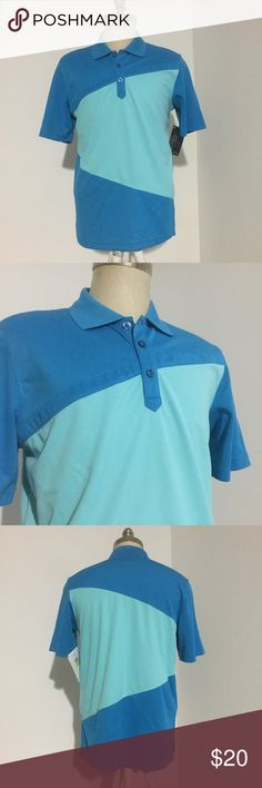 NWT! Oakley Blue Golf Shirt Great looking shirt! 2 toned blue and lightweight Oakley golf shirt in a size M. Brand new with tags. Never worn, but does have a small amount of writing on inside tag because it was a backup for a movie. Oakley Shirts Polos