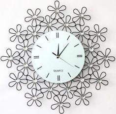 relojes de pared modernos metal decorativos paredes de metal margaritas cuarzo
