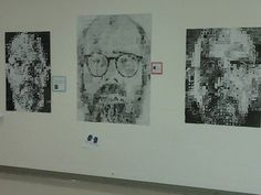 My fifth grade students did a lesson on value copying Chuck Close portraits. The middle portrait has 9900 squares, each student completing Farmer Elementary, Louisville, KY. Chuck Close Portraits, Fifth Grade, Farmer, Squares, Photo Wall, Students, Middle, Photograph, Bobs