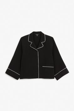 Monki Image 1 of Button up blouse in Black