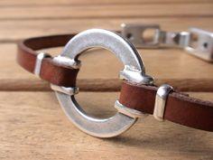 men women unisex brown leather bracelet with silver by kekugi, $23.00