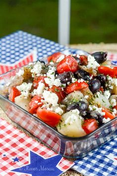 Greek Potato Salad is an easy, healthier potato salad with a Greek vinaigrette dressing, feta cheese, black olives, and tomatoes, perfect for a picnic.