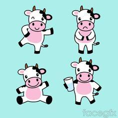 4 cow cartoon vector
