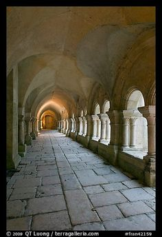 Cloister gallery, Fontenay Abbey. Burgundy, France