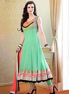 Neon Trendss Designer Readymade Suits Ligth Green and Orange Net Readmade Designer Suit