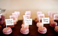 Macaron Favours : wedding edible favors macarons macaroons pink wedding favors Macaroons Name Cards Macaron Favors, Edible Favors, Edible Wedding Favors, Wedding Desserts, Party Favours, Hunting Wedding, Seating Cards, Table Seating, Wedding Place Cards