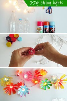 Turn old plastic bottles and a plain string of Christmas lights into a festive and fun party decoration. This would be a great lighting idea for the patio or porch or even a dorm or teen room.
