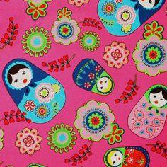 Matryoshka Babushka Fuchsia Fabric