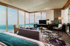 The Presidential Suite at InterContinental Nha Trang, #Vietnam has floor-to-ceiling windows offering panoramic views.