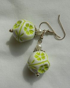 Handmade Earrings Vintage Green Multi Sided Large Beads and Faux Pearl Beads  #Handmade #DropDangle Sold