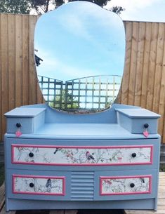 Beautiful upcycled dressing table beautiful birds paper design by DesignsbyKateShop on Etsy https://www.etsy.com/uk/listing/523896628/beautiful-upcycled-dressing-table