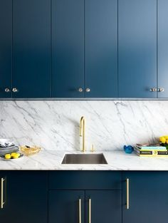 Trend Alert: Navy, Marble & Brass in the Kitchen & Bath | Apartment Therapy