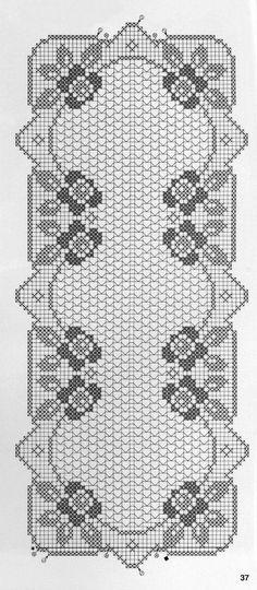 Lindo caminho de mesa e centrinhos, em crochê filé .