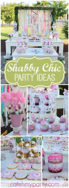 What a pretty shabby chic birthday party! See more party ideas at CatchMyParty.com!