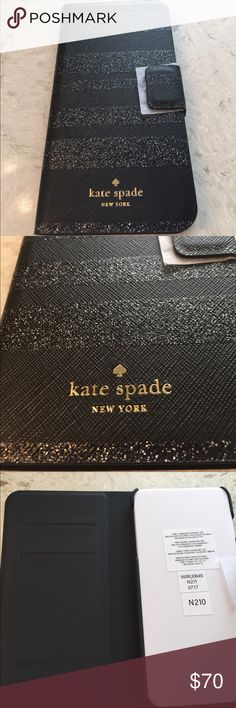 🆕Kate Spade IPhone PLUS Folio case Black Glitter Kate Spade Black Leather Wrap Folio case with Black Glitter Stripes. Wonderful case to keep your phone protected as it closes with a magnetic flap and stays closed until you open it….Inside holds your phone securely and has slots to hold your ID and credit cards. New, never used. Opened the box to show the case more clearly. Kate Spade Accessories Phone Cases