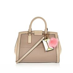 Beige ladylike structured pom pom tote bag £45 #riverisland Satchel, Crossbody Bag, Tote Bag, Luxury Sunglasses, Womens Purses, School Bags, Tote Handbags, Bag Accessories, Purses And Bags