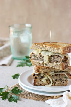 Vegetarian Patty Melts made with mushrooms and cannelloni beans