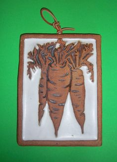 VICTORIA LITTLEJOHN CERAMICS Carrots Wall Plaque Hanging Vintage Heavy Leather Hanger Trivet Cork Signed Studio Art Pottery Bunch Carrots by MADONNASCOLLECTIBLES on Etsy