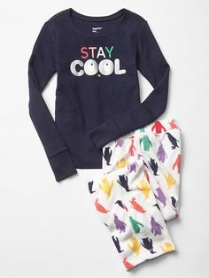 """Penguin PJs without too many """"girly"""" touches - just the words on the front are shiny (so it won't work for my girl, but might be perfect for yours!). From Gap."""