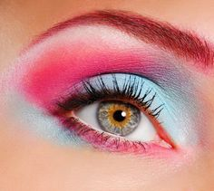 bright blue and pink eye makeup Colorful Eye Makeup Ideas