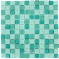 """Optimal Tile - Square Glass Tile - 7/8"""" x 7/8"""" Glossy Glass Mosaic in Teal Blend"""