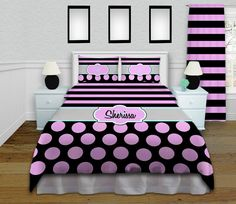 Unique Pink and Black Bedding, Comes in Comforter or Duvet cover, and Personalization is FREE!