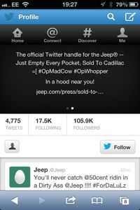 Twitter – Yesterday it was Burger King, today it's Jeep