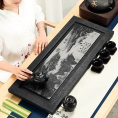 Shadow Carving Whole Piece Of Wujinshi Tea Tray Black Stone Small Sea Table Home Simple Set Chinese Kung Fu Bamboo Tea Trays Asian Living Rooms, Kung Fu, Antique Chinese Furniture, Tea Tray, Brewing Tea, Tea Accessories, Tea Ceremony, Traditional Chinese, Traditional Dresses