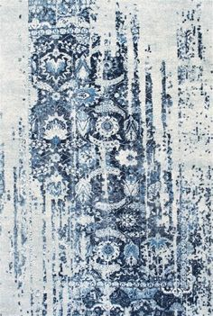 Distressed Ernestina Flourish Contemporary Area Rug Collection 4'x6' in Blue Color