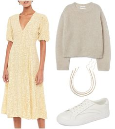 Hannah Bronfman Outfit: yellow snake print midi dress, beige sweater, gold layered chain necklaces, and white low top sneakers #celebrityfashion #celebritystyle #celebrityoutfits #hannahbronfman 2000s Fashion, College Fashion, Retro Fashion, Boho Fashion, Fashion Outfits, Sweet Fashion, Fashion History, Korean Fashion, Fashion Jewelry