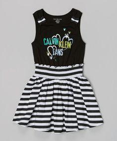 Look at this #zulilyfind! Black & White Stripe Dress - Infant, Toddler & Girls #zulilyfinds