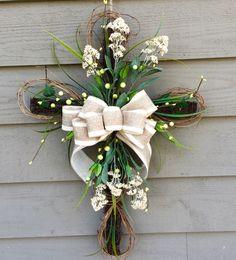 Easter Cross, Floral Cross, Cross Door Hanger, Easter Wreath, Front Door Wreath, Easter Decoration, Easter Door Hanger by BlueMountainBurlap on Etsy https://www.etsy.com/listing/267011577/easter-cross-floral-cross-cross-door