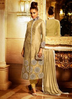 Cream Bhagalpuri Silk Diamond Worked Salwar Suit #SalwarSuits #snapdeal #India