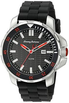 Men's Wrist Watches - Tommy Bahama  Mens 10018292 Big Island Diver 3Hand Analog Display Japanese Quartz Black Watch ** Check this awesome product by going to the link at the image.