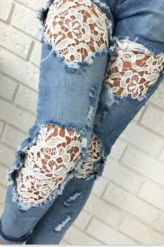 Shop Lace Splicing Ripped Jeans at victoriaswing, personal womens clothing online store! high quality, cheap and big discount, latest fashional style! Patchwork Denim, Denim Ideas, Cooler Look, Denim And Lace, Diy Lace Jeans, Denim Crafts, Old Jeans, Jeans Pants, Type Of Pants