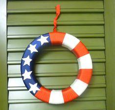 holiday wreath tutorials -- Patriotic ribbon wreath-5