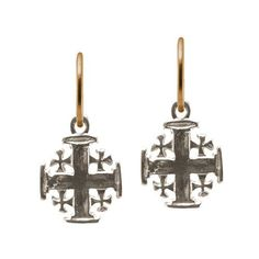 """Our Cinq Cross Earring was inspired by an engraving on an ancient iron chisel discovered during one of our travels. Cinq meaning """"Five"""" in French. A Brevard original Endless Hoop design in sterling silver & gold. Kingdom Of Jerusalem, Jerusalem Cross, Cross Earrings, Precious Metals, Hoop, Jewlery, Charmed, Western Style, Sterling Silver"""